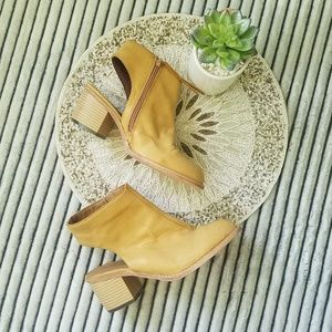 Michael Antonio Yellow Tan Leather Open Heel Boot